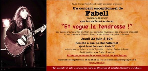 """C'EST DEMAIN! """"Vogue la tendresse"""", le concert exceptionnel de Fabell ce jeudi 23 juin, sur la péniche à quai le Bali. On vous attend!"""