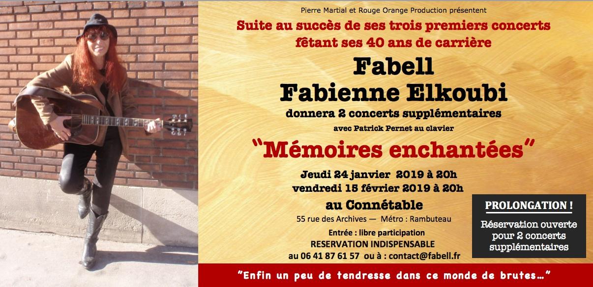 Affluence record pour les 5 concerts de Fabell/Fabienne Elkoubi à l'occasion de ses 40 ans de carrière